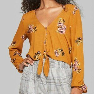 Wild Fable Yellow Floral Tie Waist Top Med